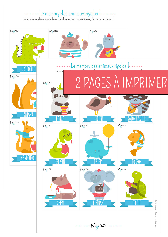 Memory Animaux - Jeu À Imprimer - Momes serapportantà Apprendre Les Animaux Pour Bebe