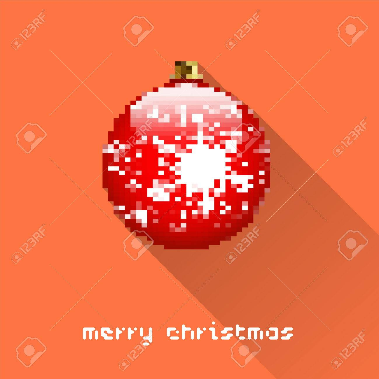 Merry Christmas Pixel Art Style Ball Poster For Party Or Greeting Card.  Vector Illustration concernant Pixel Art De Noël