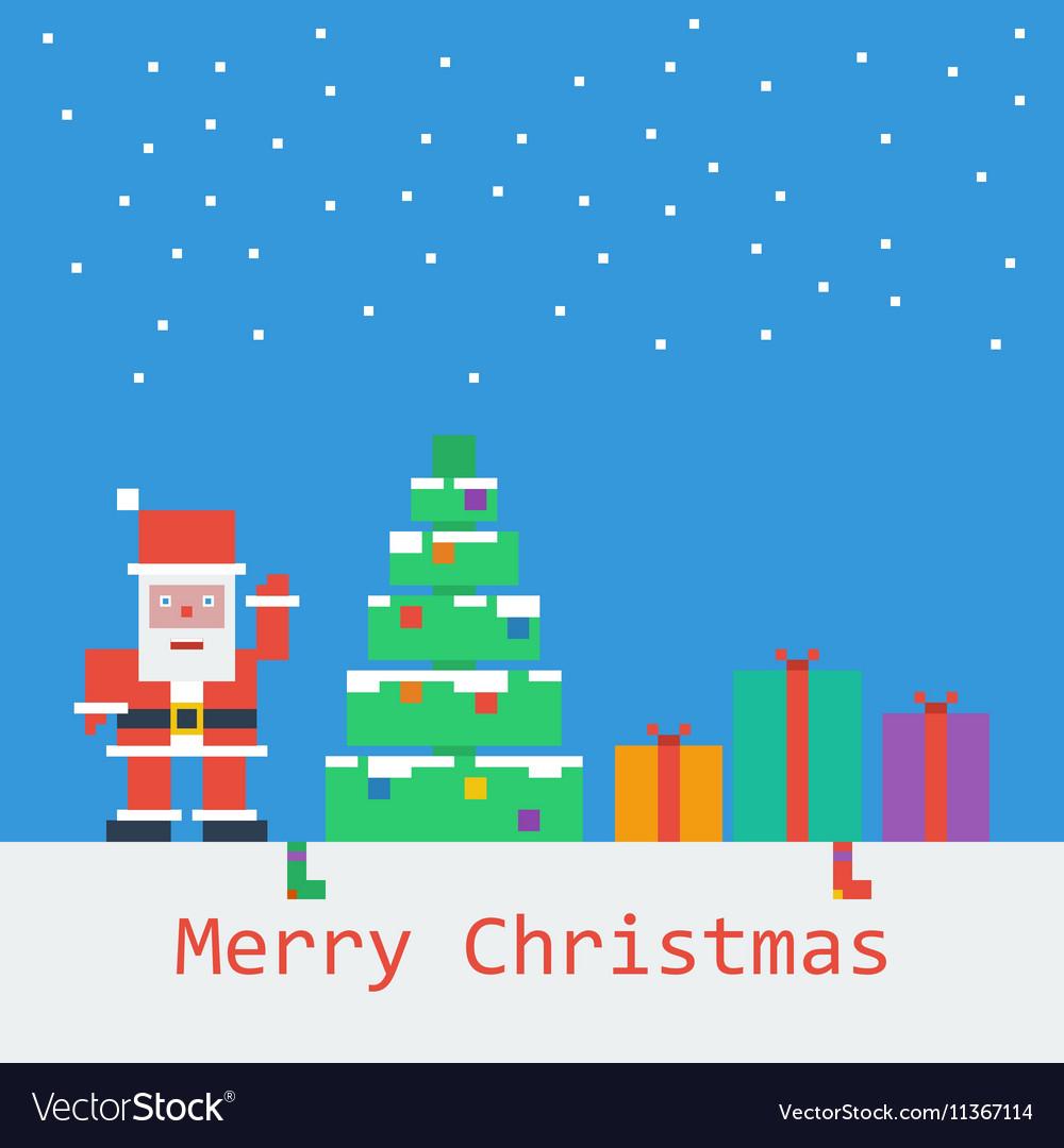 Merry Christmas Poster Flat Pixel Art serapportantà Pixel Art De Noël