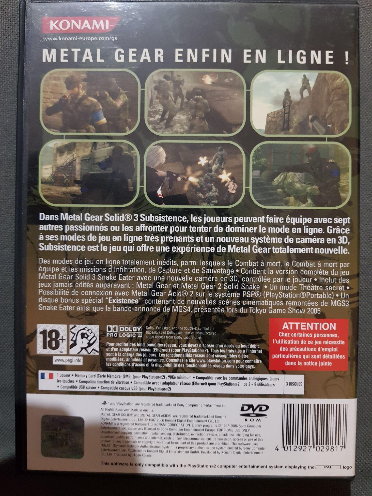 Metal Gear Solid 3 : Subsistence Video Game - Ps2 (France dedans Jeu Memory En Ligne