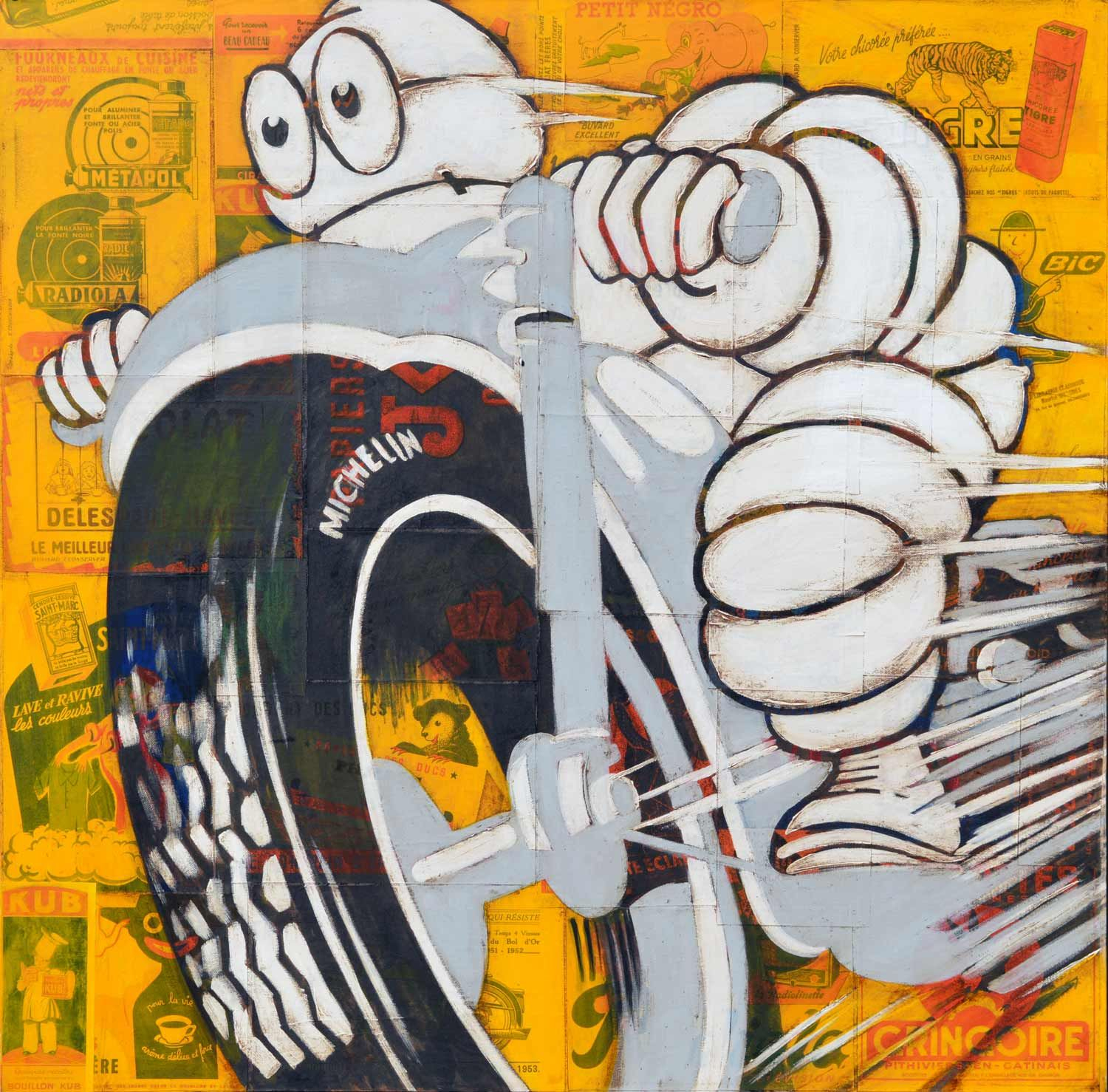Michelin Man On A Grey Motorcycle serapportantà Mineur D Or