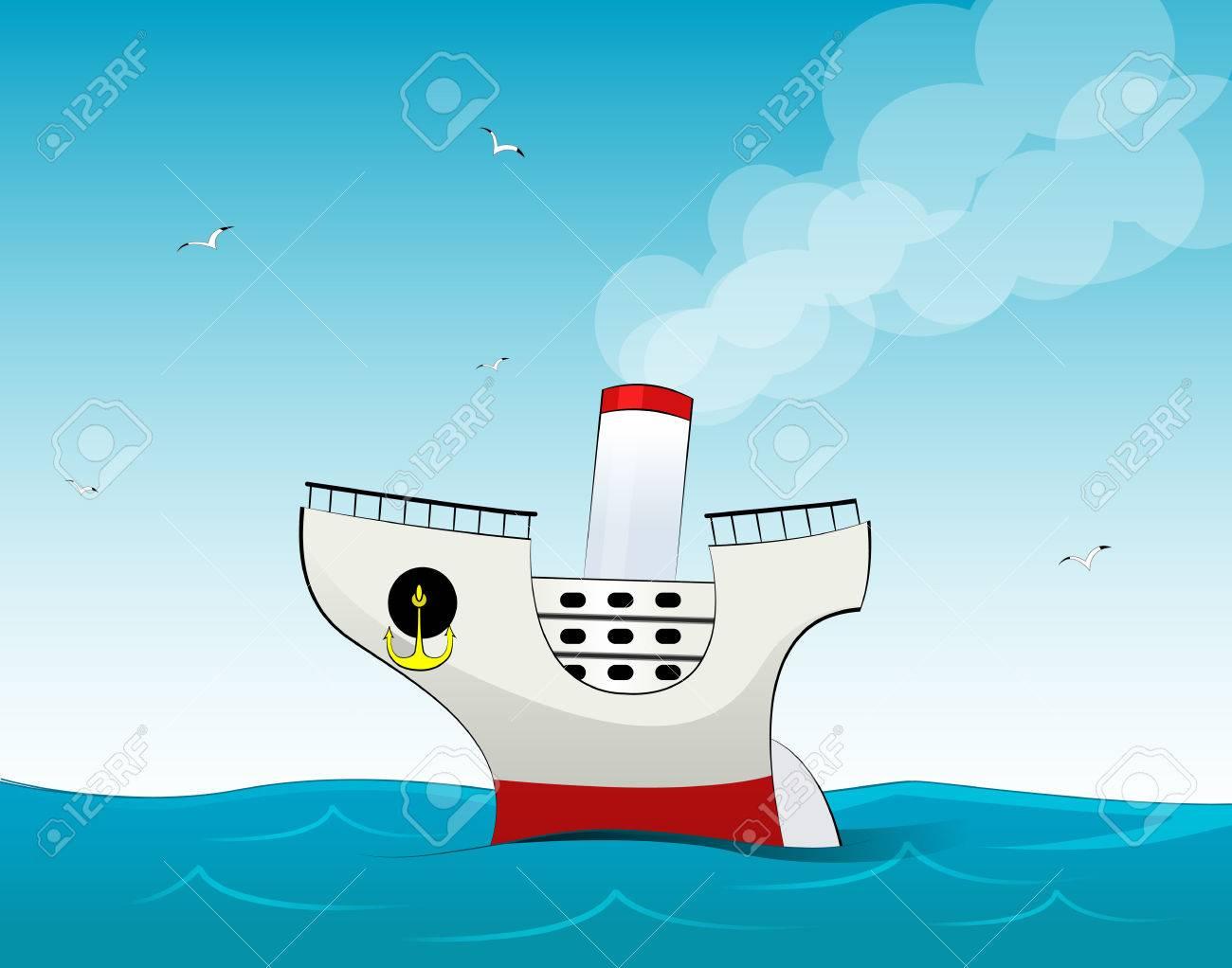 Mignon Petit Paquebot De Croisière De Dessin Animé. Illustration  Vectorielle De Navire Voyage. tout Paquebot Dessin