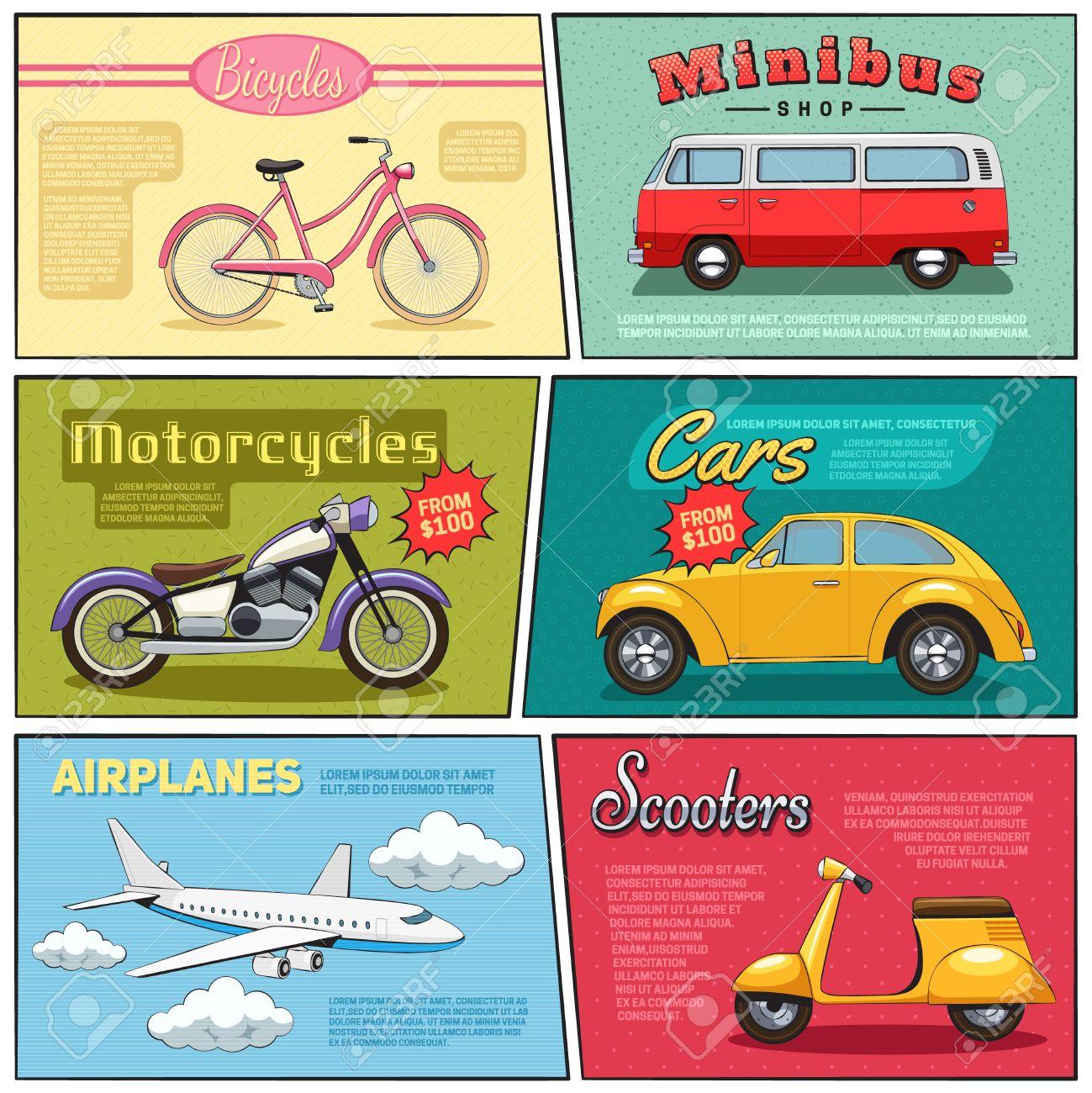 Mini Affiches Jeu De Vélo Minibus Avion Voiture Moto Et Dessin Scooter Plat  Illustration Vectorielle De Style Comique serapportantà Jeux De Mini Voiture