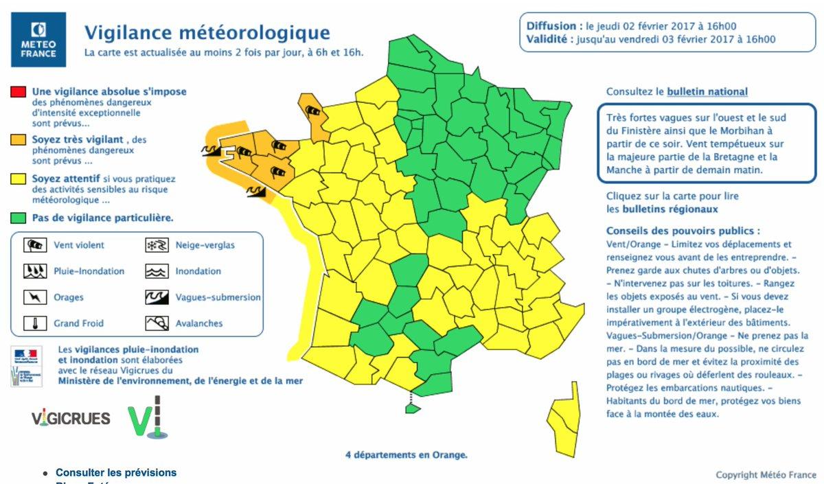 """Ministère De L'intérieur On Twitter: """"⚠️🌊💨 @meteofrance serapportantà Carte Des Départements De France 2017"""