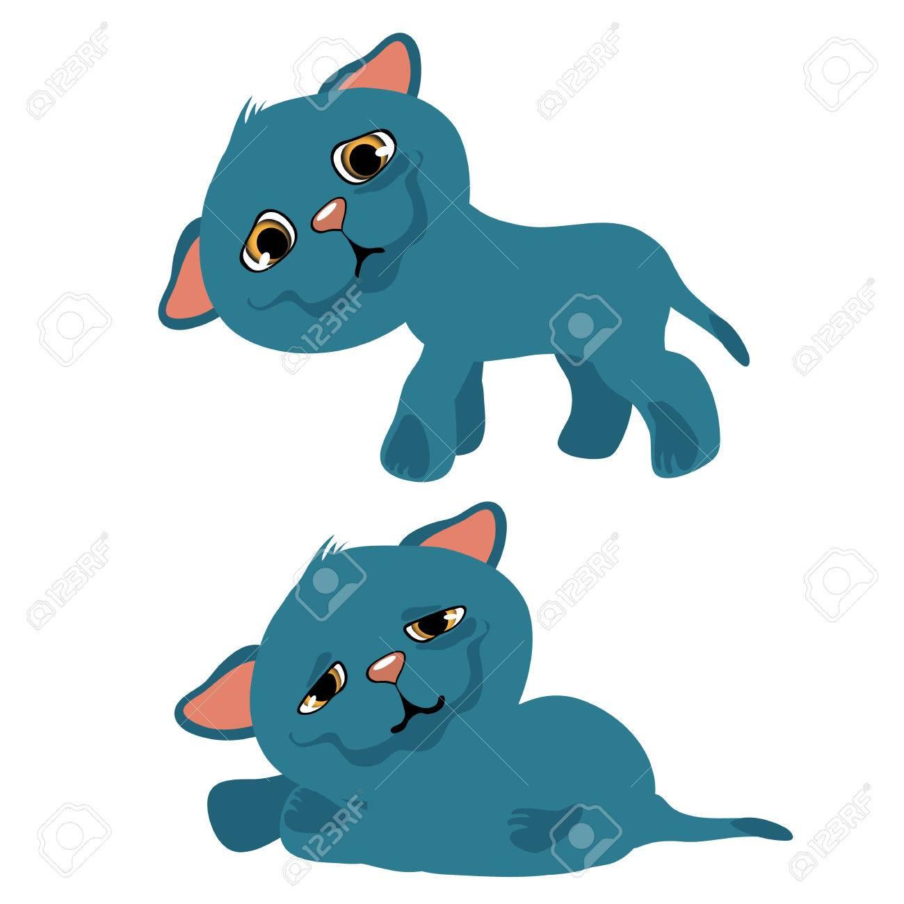 Minou Bleu Sad, Dessin Animé Vecteur. Animaux Isolés destiné Minou Dessin