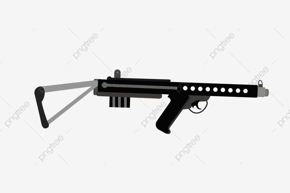 Mitraillette Noire Illustration De Dessin Animé Illustration serapportantà Comment Dessiner Un Fusil