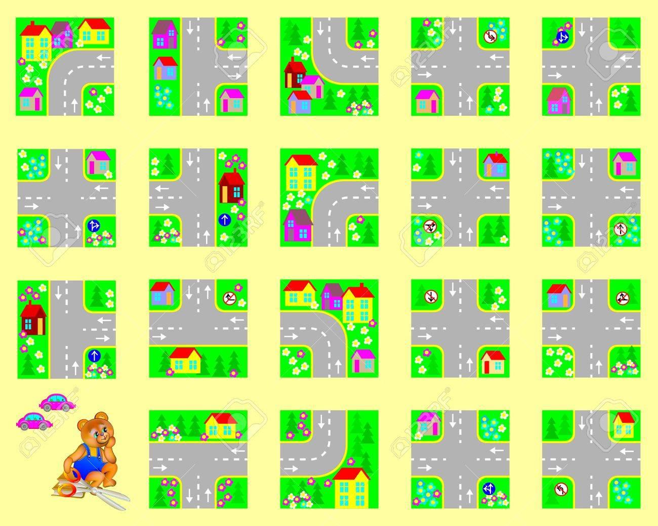 Modèle Avec L'exercice Pour Les Enfants. Couper Les Carrés, Faites Votre  Propre Village Avec Des Routes Et De Conduire Des Voitures De Jouet. avec Decoupage Pour Enfant