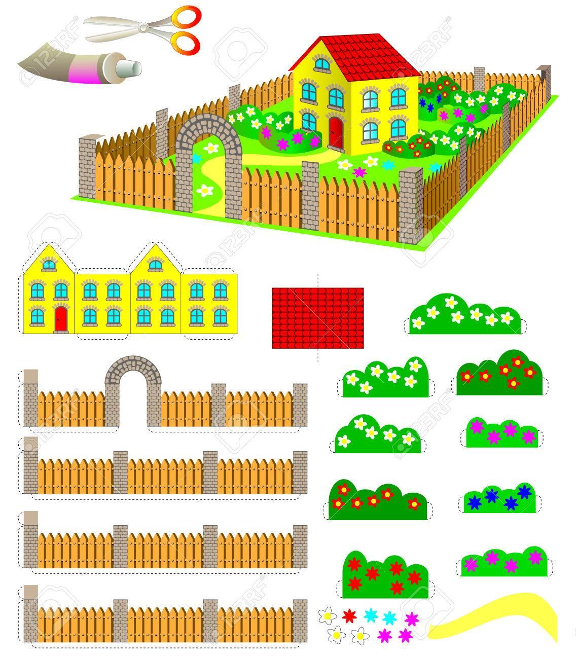 Modèle Avec L'exercice Pour Les Enfants. Utilisation Des Ciseaux Et De La  Colle Doivent Faire Maison De Jouet Avec Jardin. Développer Les Compétences dedans Decoupage Pour Enfant