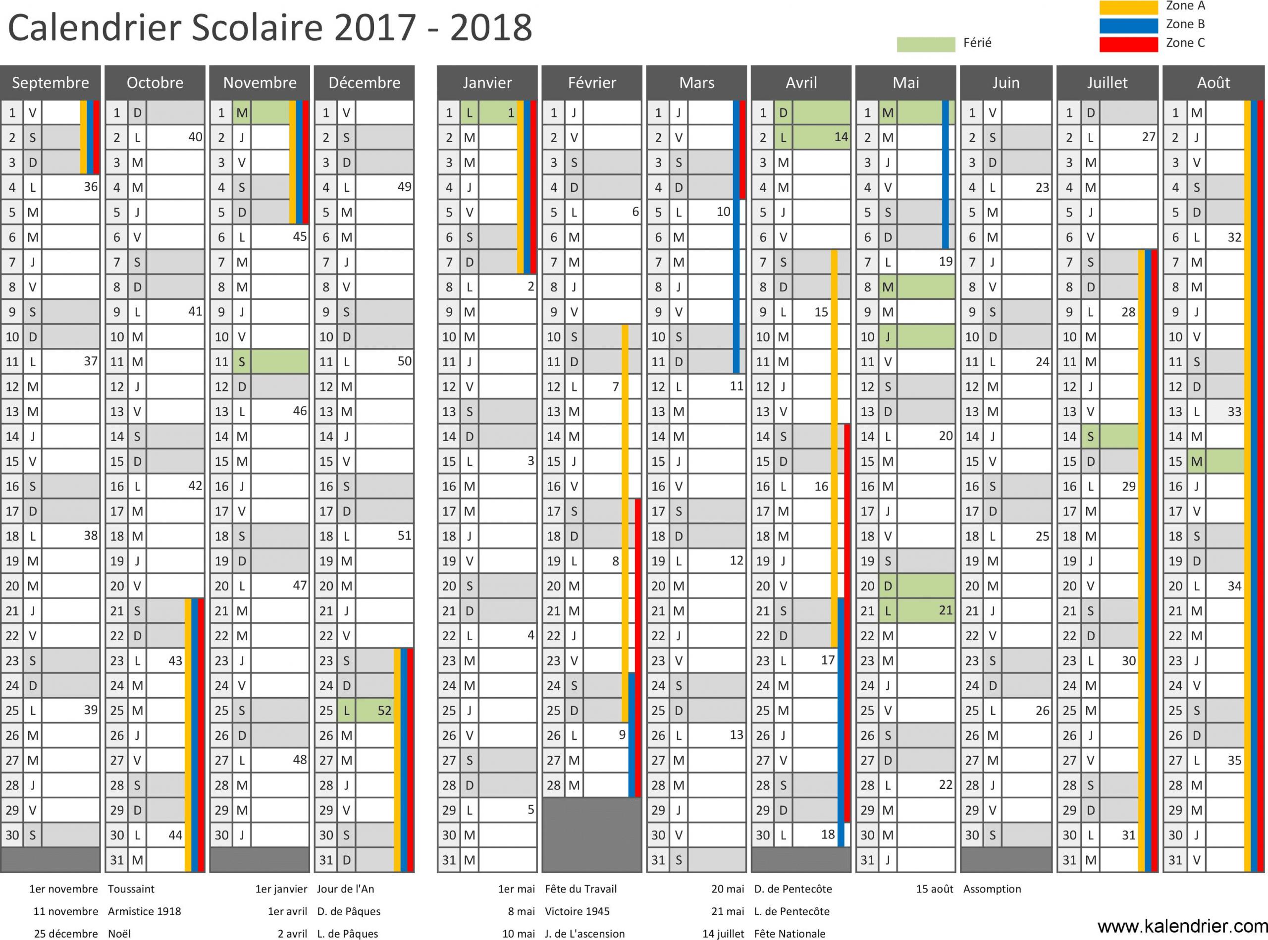 Modèle De Calendrier Annuel Vierge Pour L'année Scolaire intérieur Calendrier 2018 À Imprimer Avec Vacances Scolaires