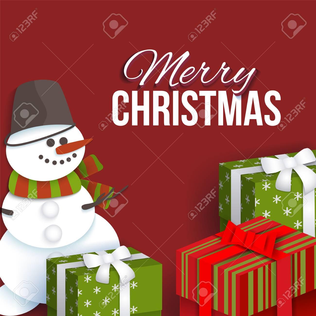 Modèle De Carte De Voeux Joyeux Noël Avec Papier Découpé, Bonhomme De Neige  Et Boîtes Présentes, Illustration Vectorielle. Joyeux Noël, Carte De Voeux intérieur Modèle Bonhomme De Neige À Découper