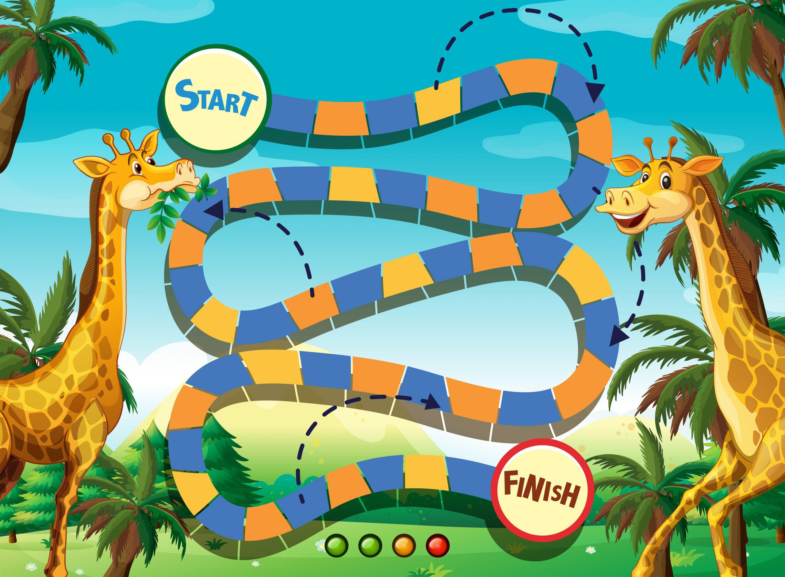 Modèle De Jeu Avec Girafe Dans Le Fond De La Jungle intérieur Jeux De Girafe Gratuit