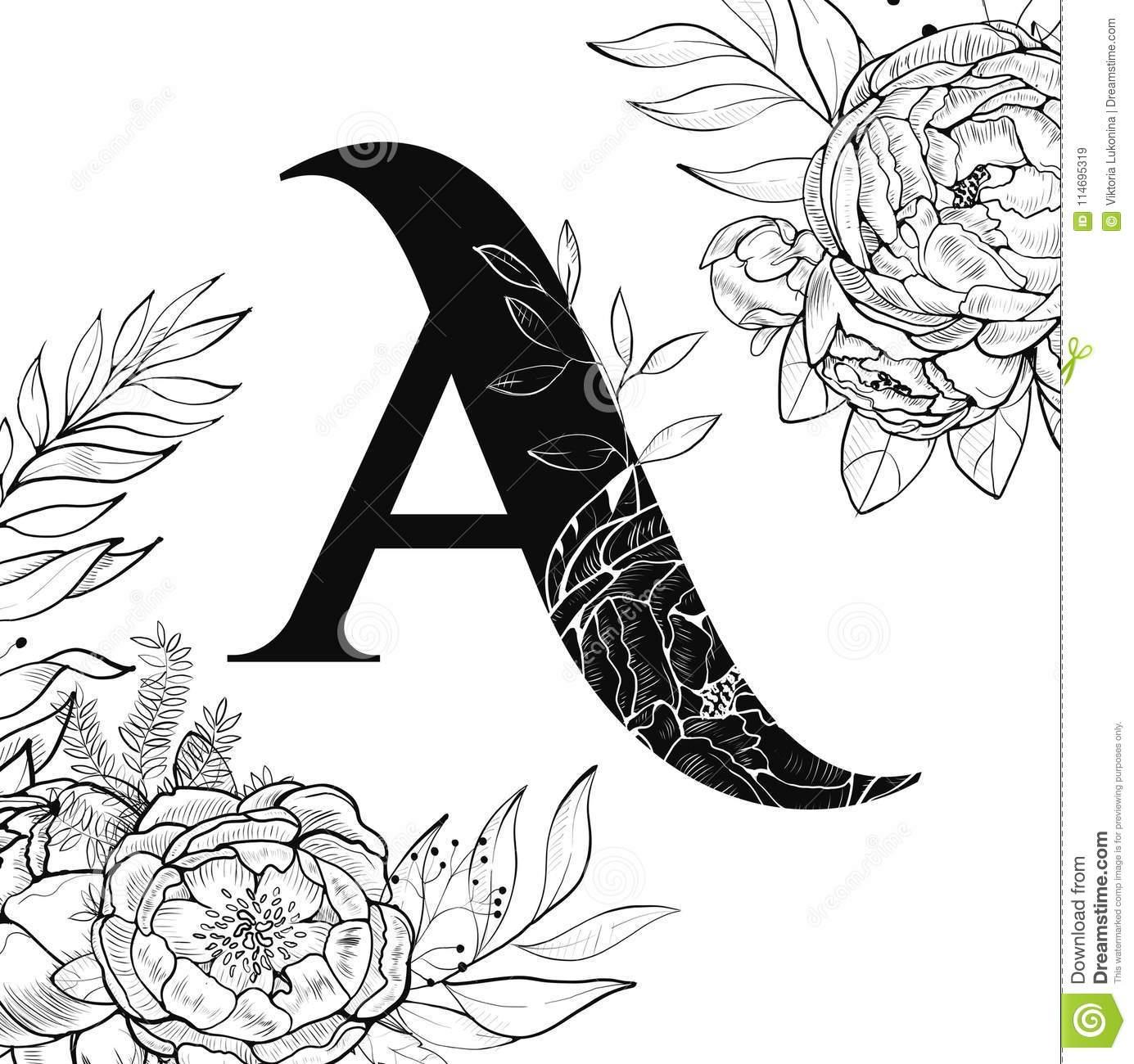 Modèle De La Lettre A D'alphabet De Fleur Illustration De tout Modele Lettre Alphabet