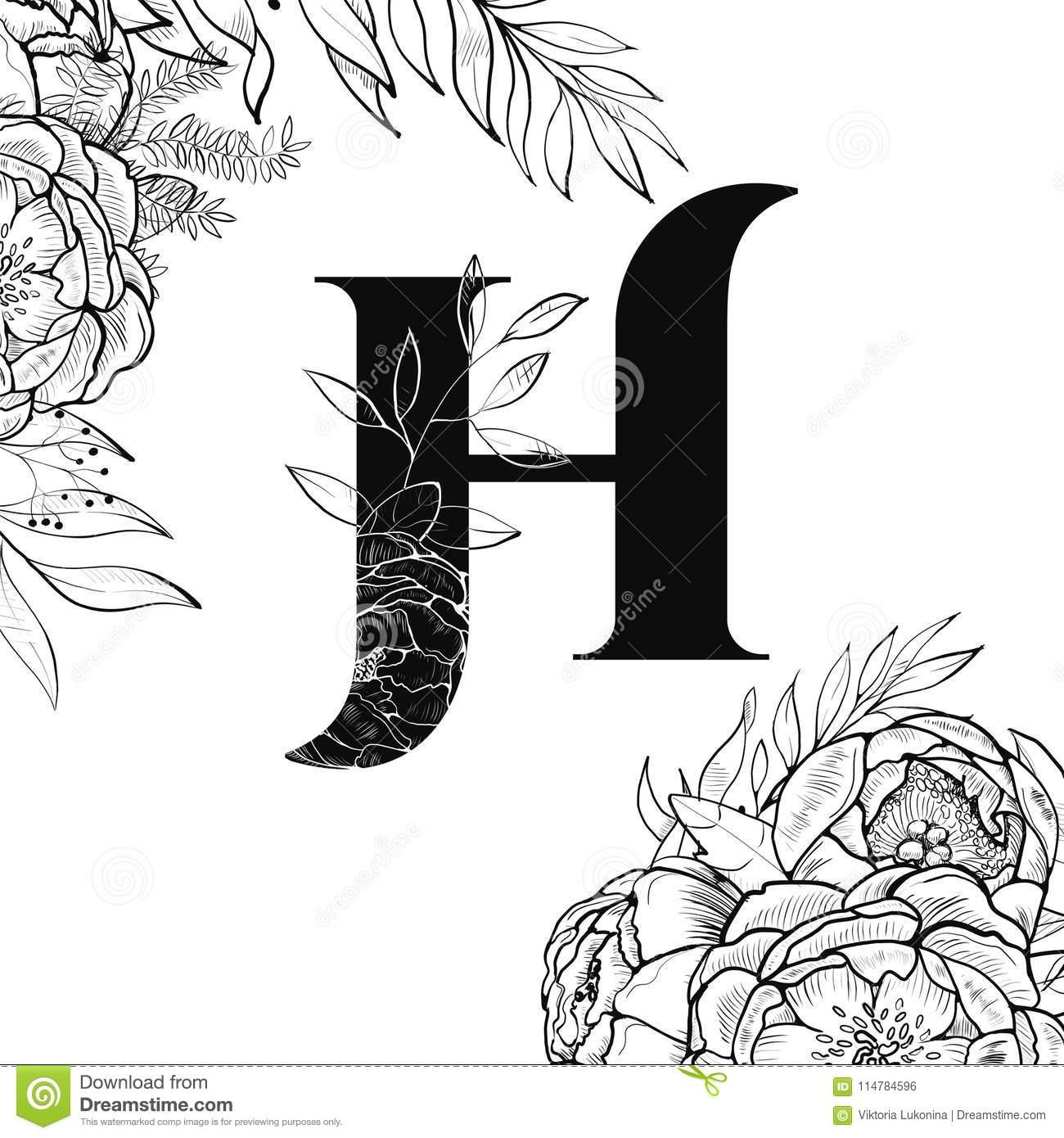 Modèle De La Lettre H D'alphabet De Fleur Illustration De avec Modele De Lettre Alphabet