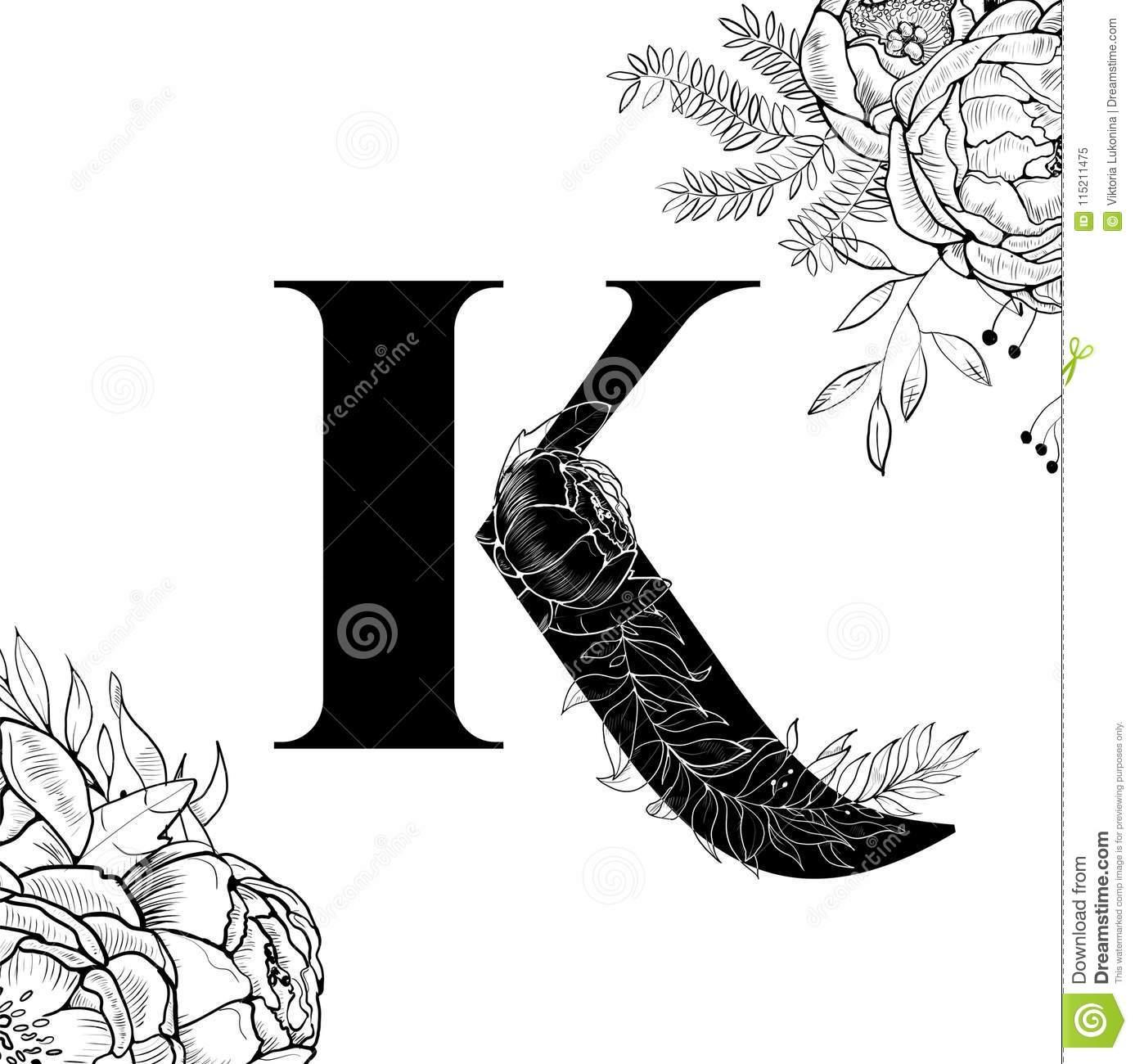 Modèle De La Lettre K D'alphabet De Fleur Illustration De avec Modèle D Alphabet
