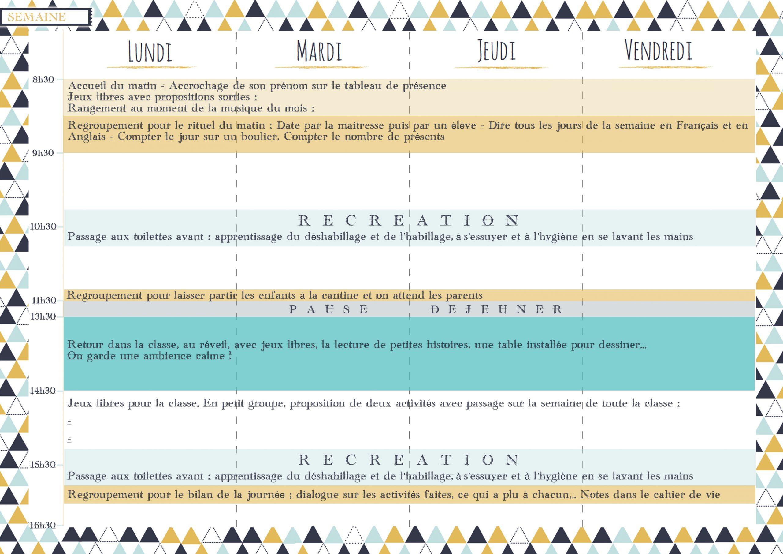 Modèle De Semainier - Les Activités De Maman destiné Jeux Maternelle Grande Section