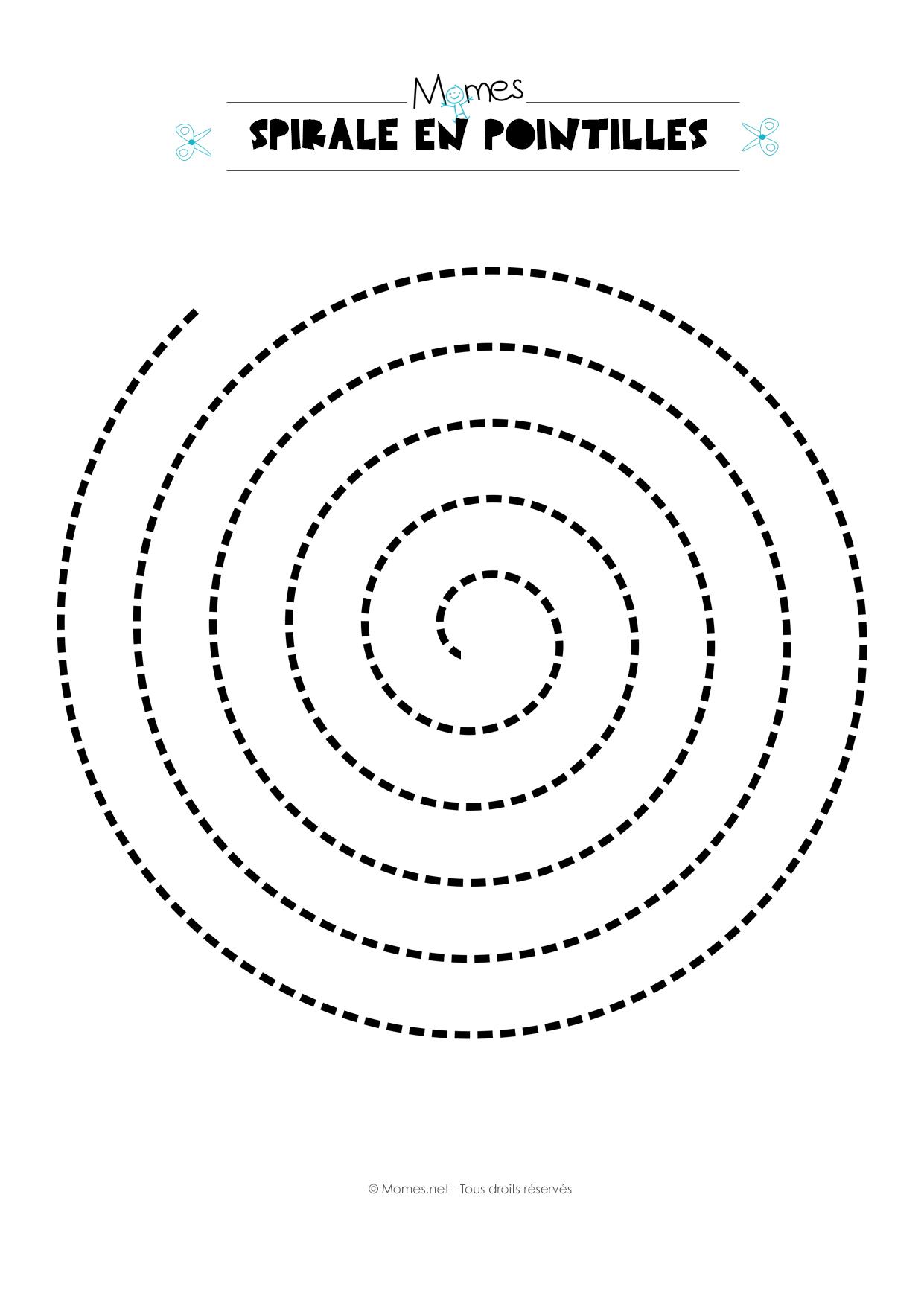 Modèle De Spirale En Pointillés - Momes tout Graphisme Maternelle A Imprimer Gratuit