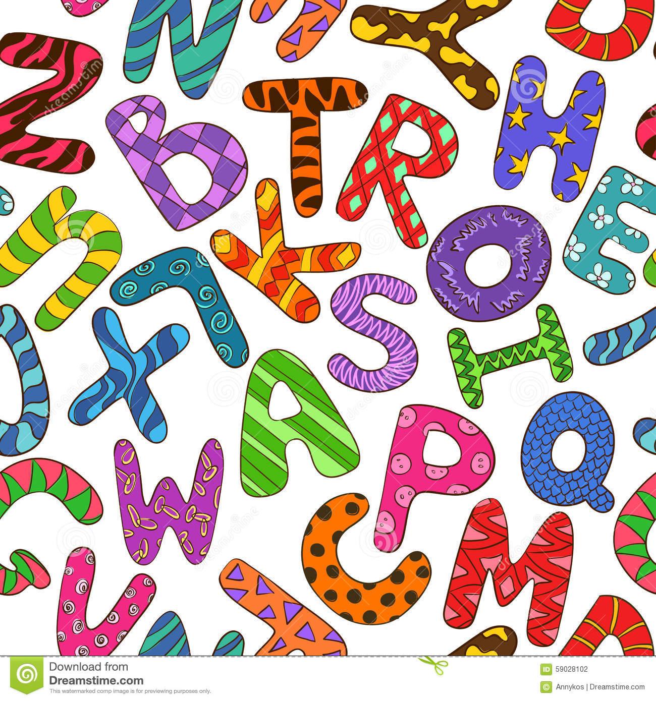 Modèle Sans Couture Avec L'alphabet Coloré D'enfants pour Modèle D Alphabet
