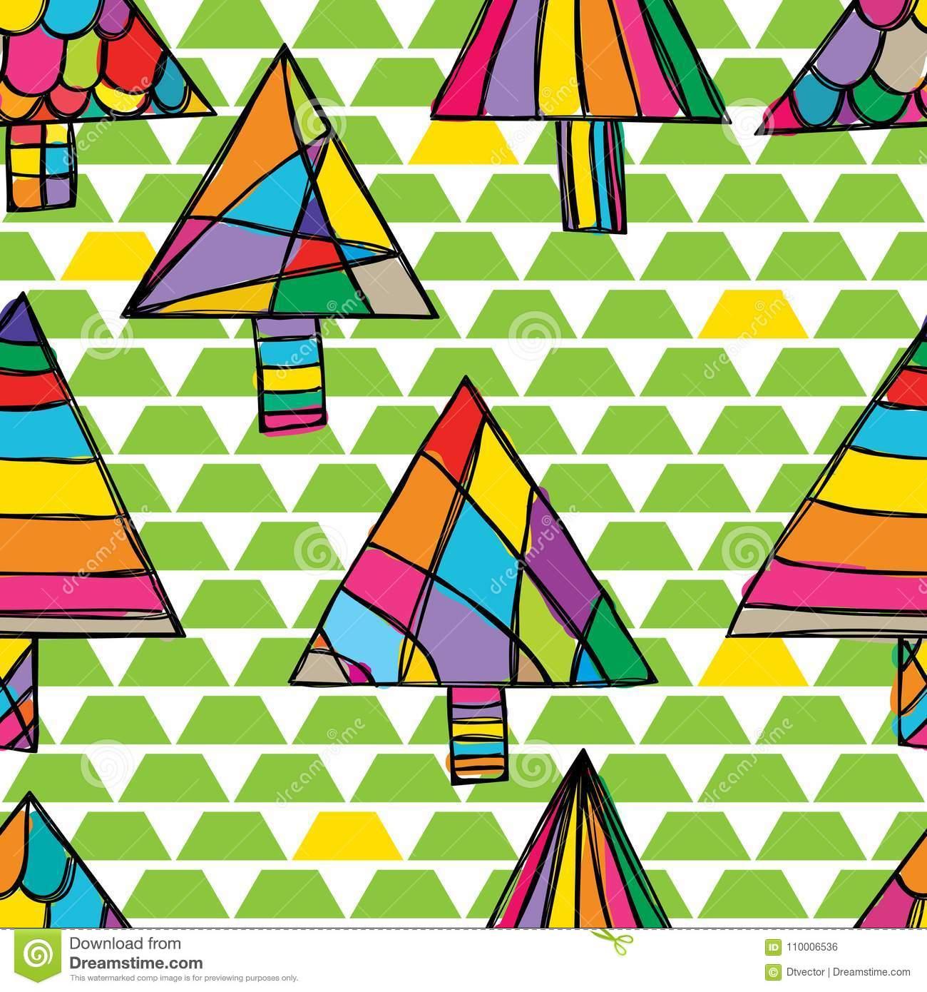 Modèle Sans Couture De Dessin D'arbre De Triangle De Vert De destiné Modele De Dessin Gratuit