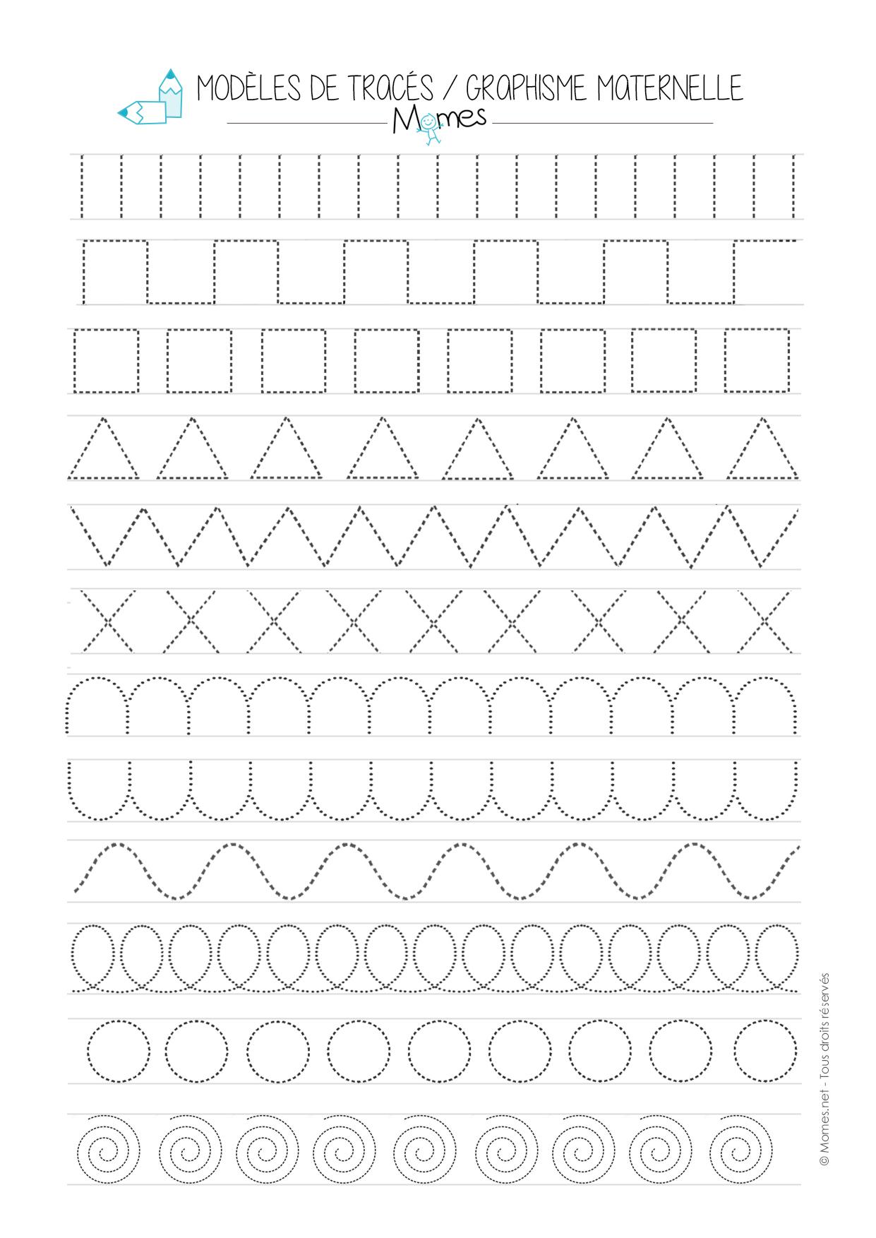 Modèles De Graphisme En Pointillé - Momes encequiconcerne Fiche Graphisme Ms