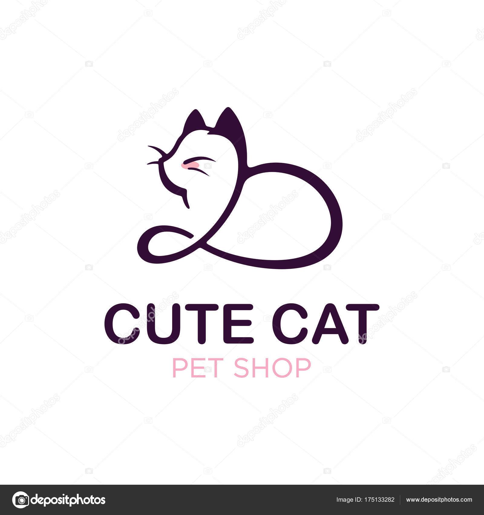 Modern Professonal Logo Illustration Cat, Pet Emblem Design pour Dessin De Petshop