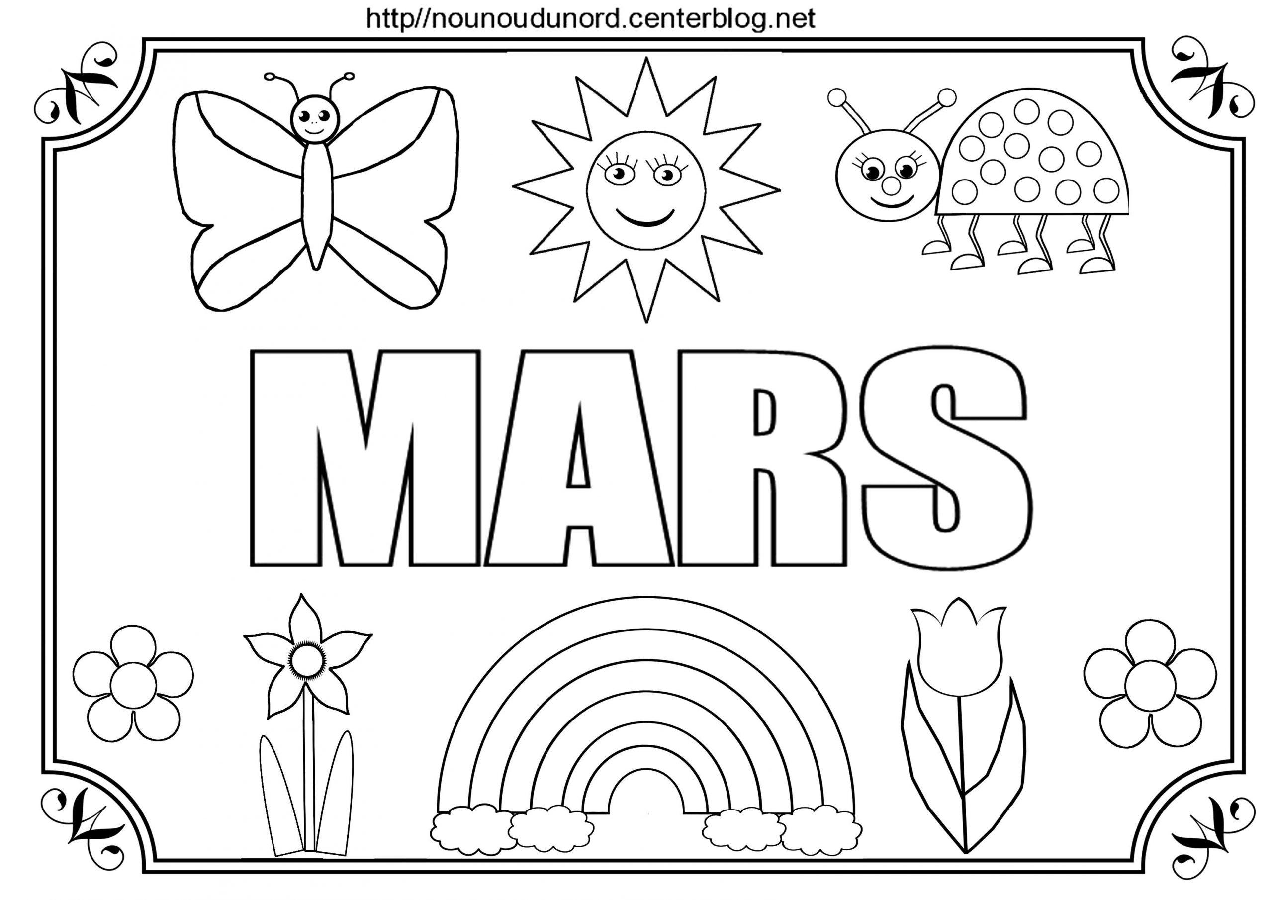 Mois De Mars À Colorier À Gommettes Et En Couleur. avec Mois À Colorier Maternelle