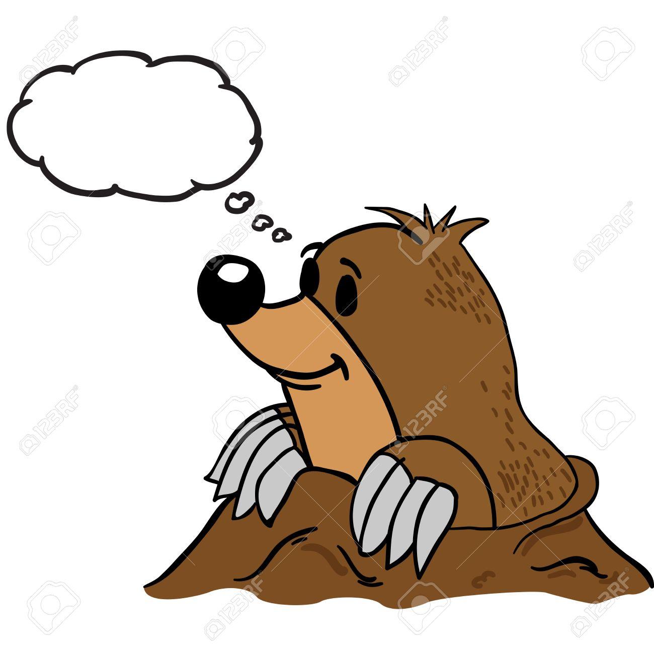 Mole With Thought Bubble Cartoon destiné Dessin De Taupe