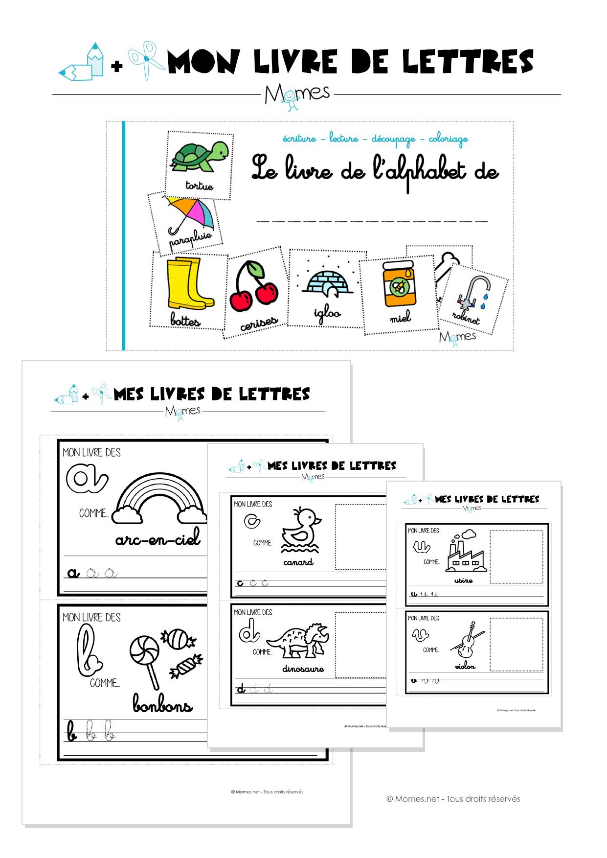 Mon Livre D'alphabet En Lettres Cursives - Momes destiné Alphabet Français À Imprimer