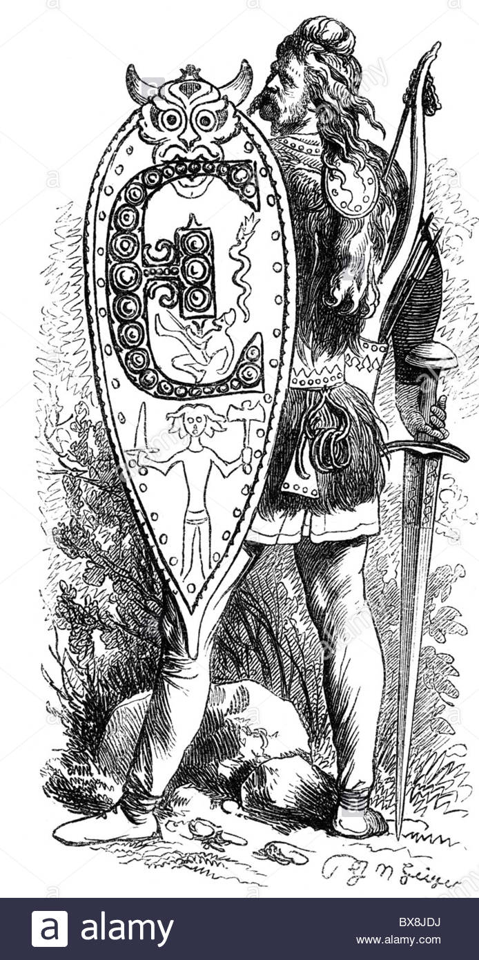 Monde Antique, Germanistique, Guerrier Germanique, Vignette avec Dessin Lettre E