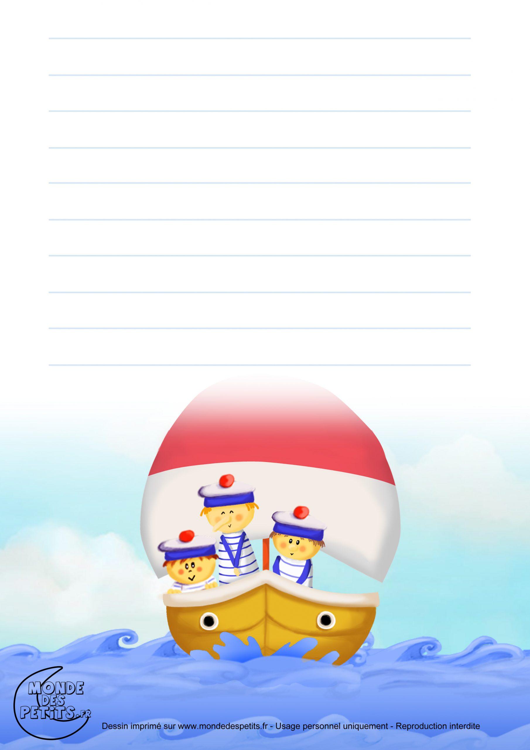 Monde Des Petits - Papier À Lettre dedans Papier A Lettre Enfant