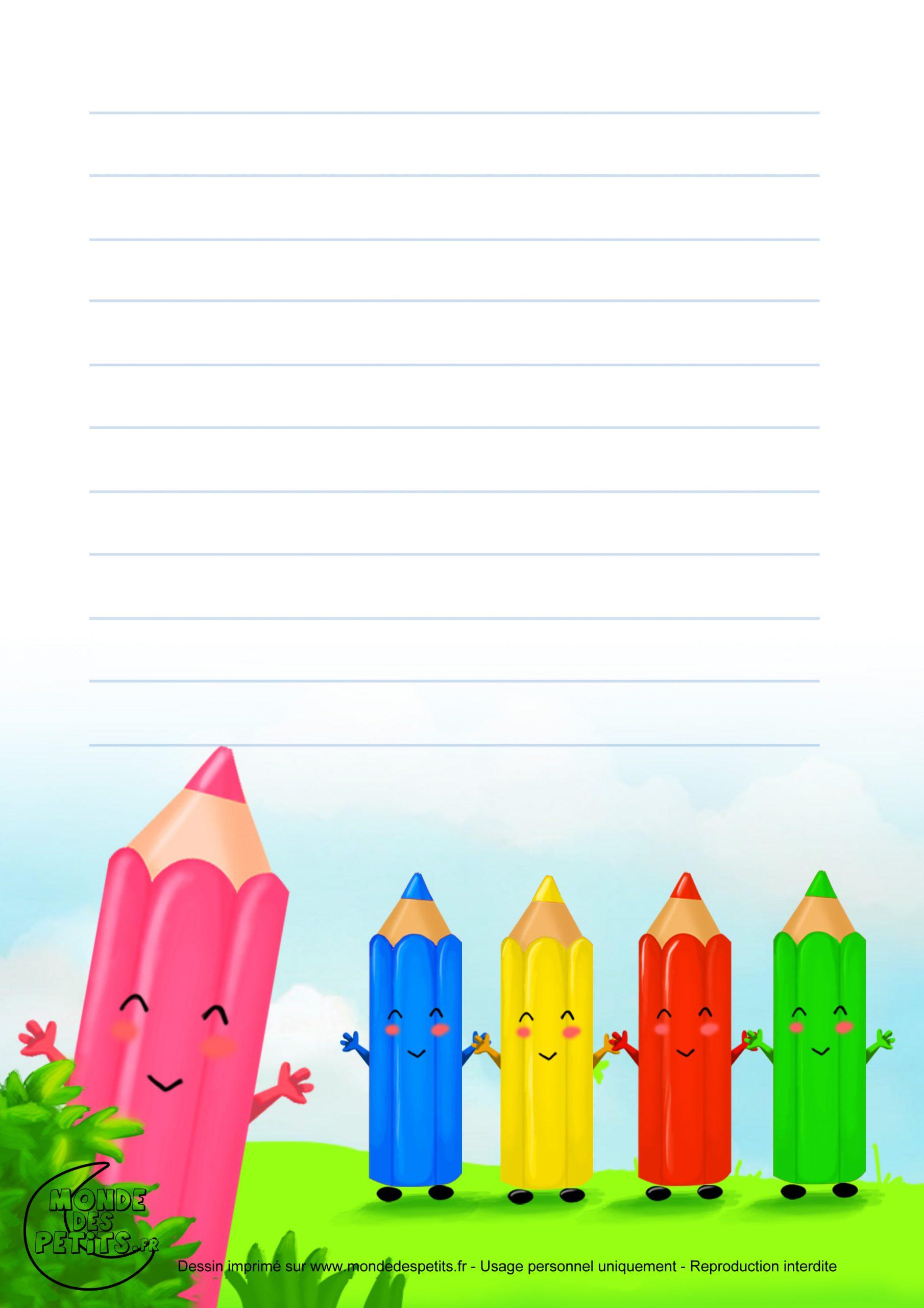 Monde Des Petits - Papier À Lettre encequiconcerne Papier A Lettre Enfant