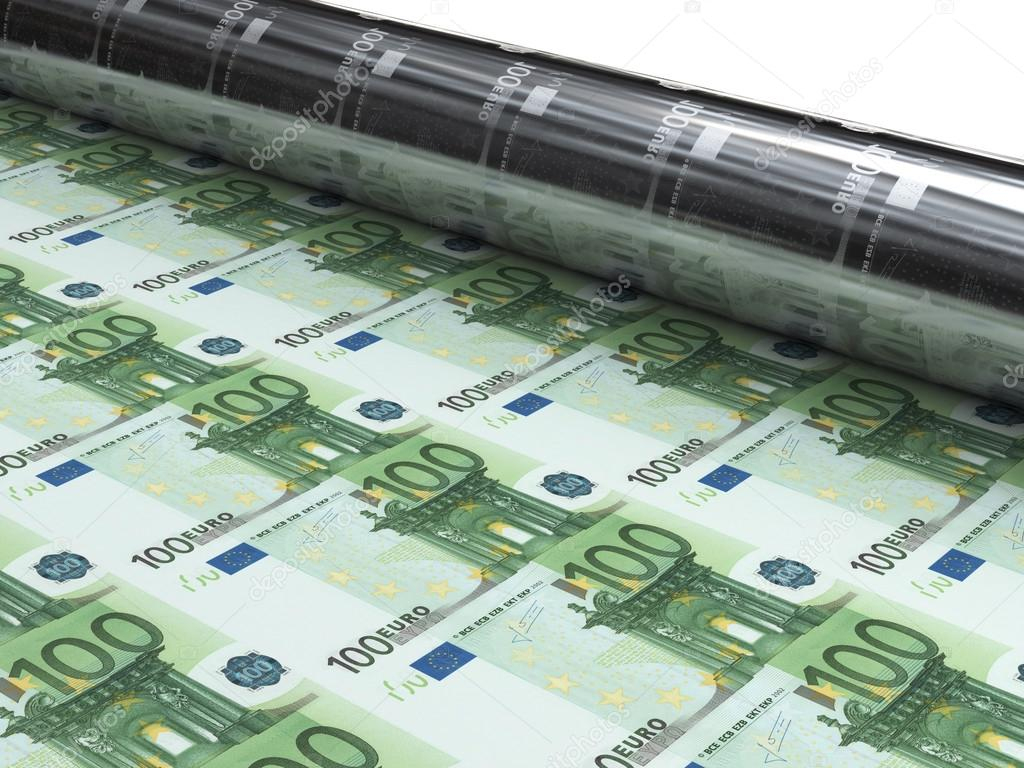 Money Machine To Print New Euro Banknotes — Stock Photo avec Billet De 100 Euros À Imprimer