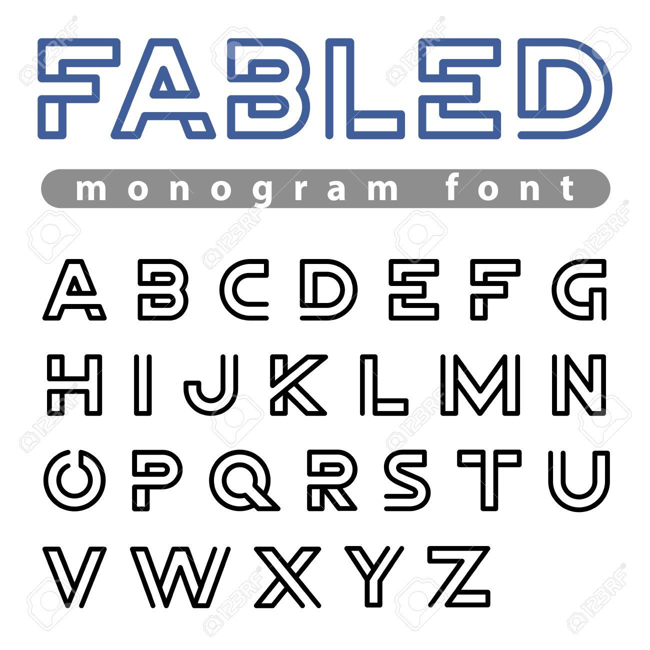 Monogram Logo Vecteur Police Design Alphabet Espace Négatif De Style  Linéaire. Abc Lettre Modèles De Logotype. Contour Caractères Creative à Modele Lettre Alphabet