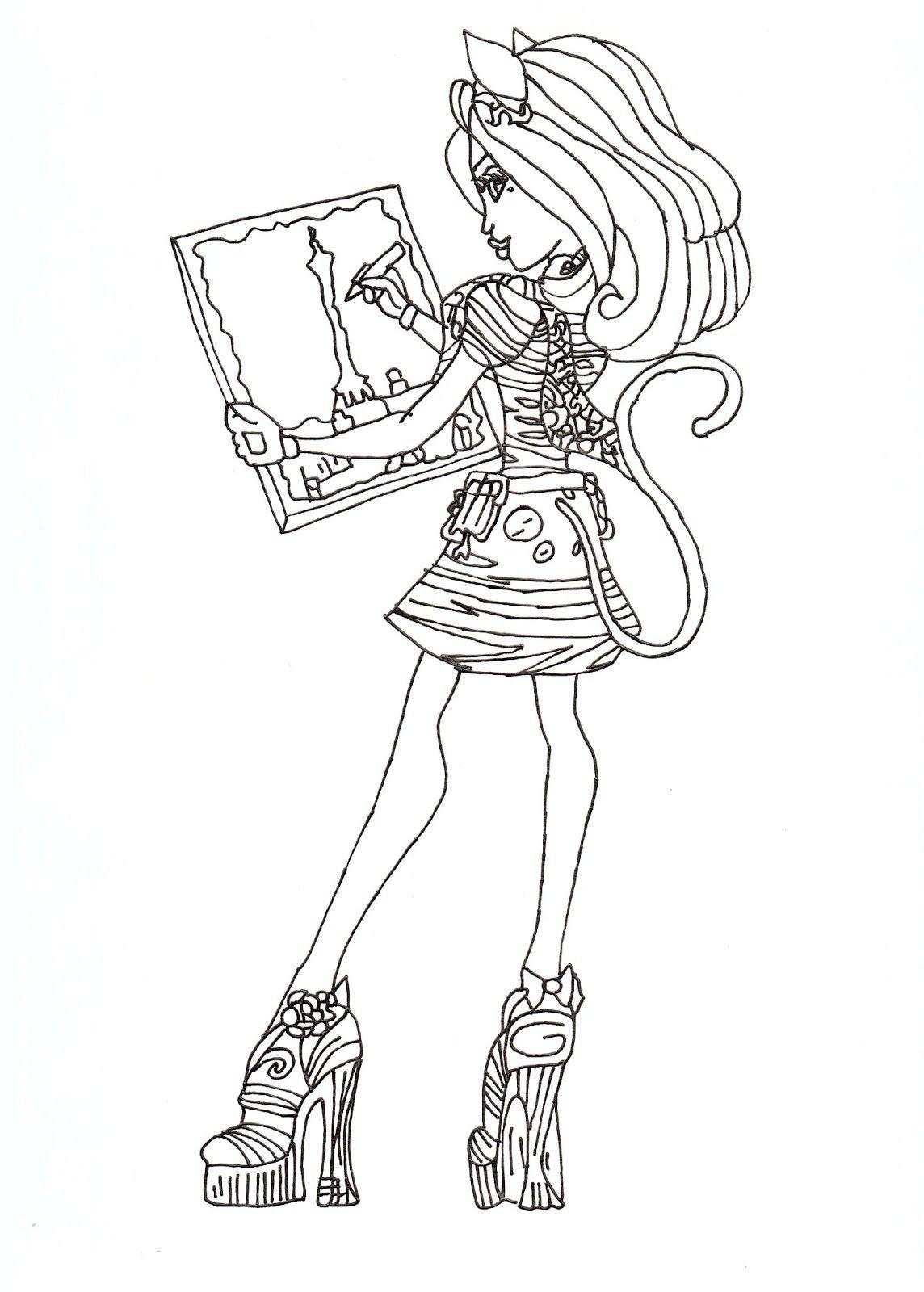 Monster High Free Printables   Catrine De Mew Free Coloring encequiconcerne Image Monster High A Imprimer