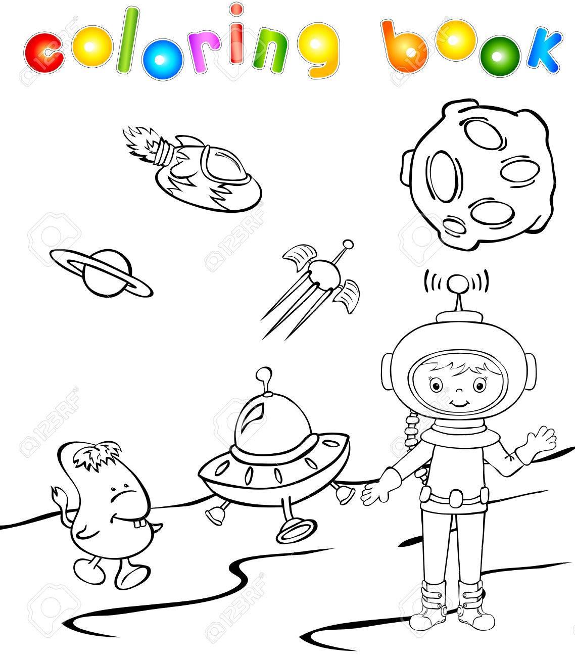 Monstre Astronaute Et De L'espace Près De La Fusée. Livre De Coloriage à Coloriage Astronaute