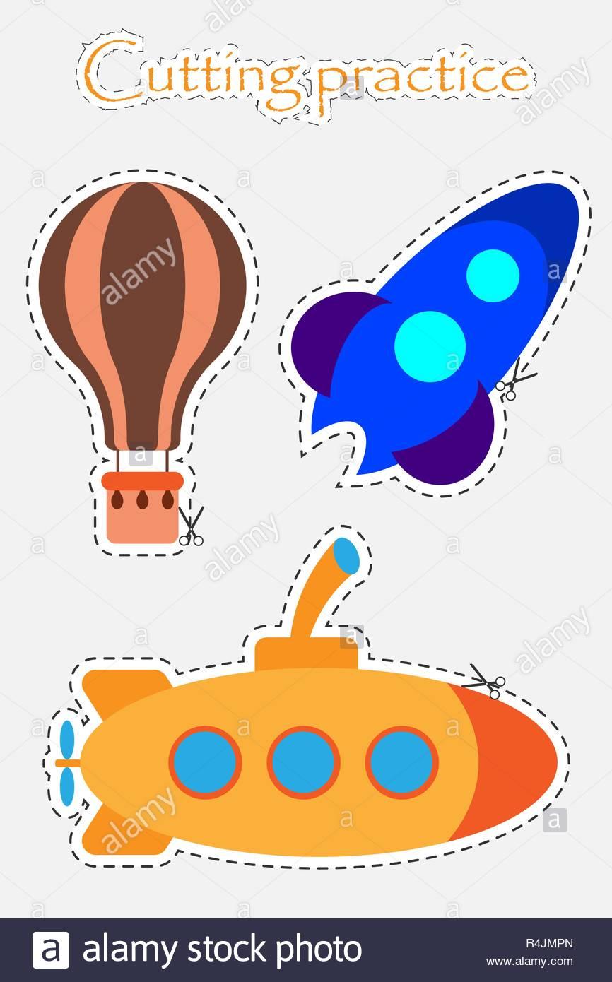 Montgolfière, Rocket Et Sous-Marin Dans Un Style Cartoon, Le avec Decoupage Pour Enfant