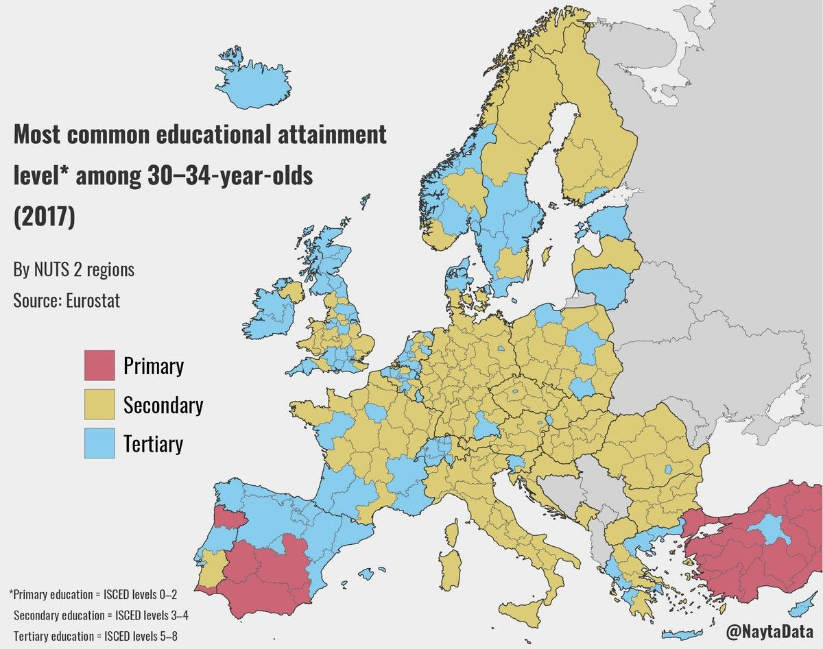 Most Common Educational Attainment Level Among 30–34-Year dedans Carte Europe 2017