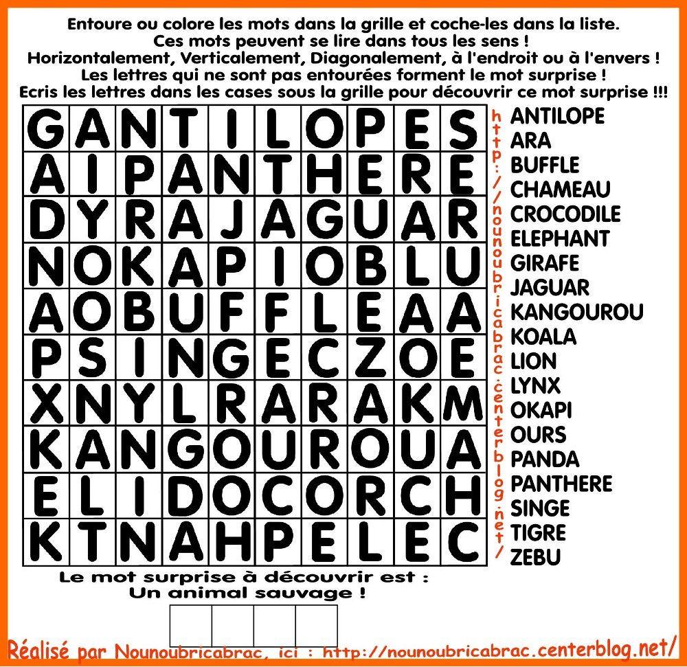 Mots Cachés Pour Enfants… Thème : Animaux Sauvages   Mots pour Jeux De Lettres Enfants