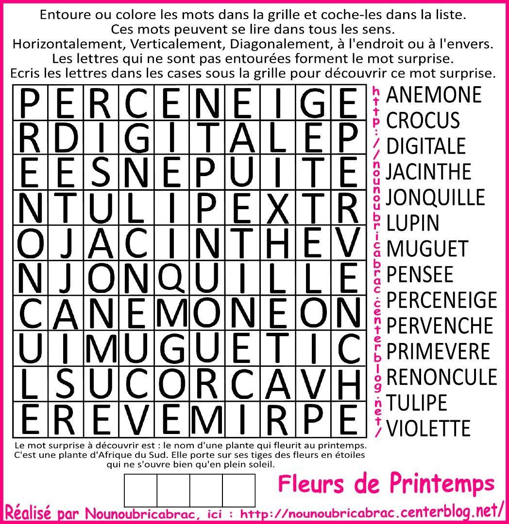Mots Cachés Pour Enfants… Thème : Les Fleurs *1* - Mots intérieur Mots Croisés Pour Débutants À Imprimer