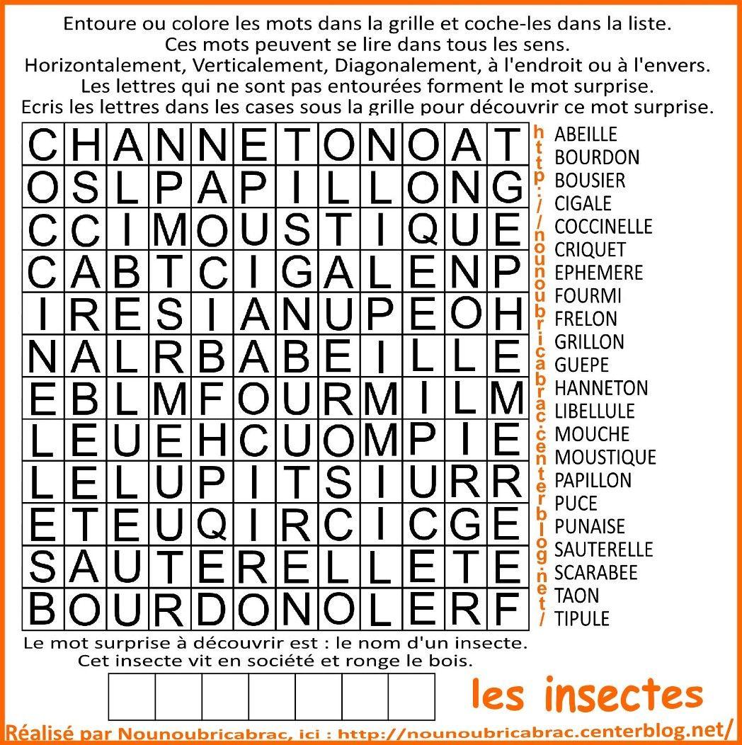 Mots Cachés Pour Enfants… Thème : Les Insectes - Mots Cachés Cp serapportantà Mots Fleches Enfants