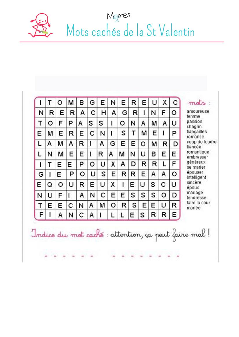 Mots Cachés : St Valentin - Momes avec Mots Croisés Gratuits À Imprimer