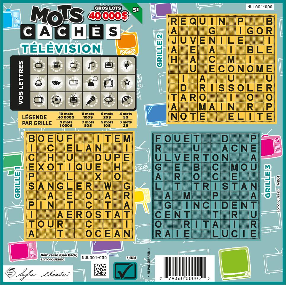 Mots Cachés Télévision - Lotteries - Loto-Québec pour Mots Croises En Ligne