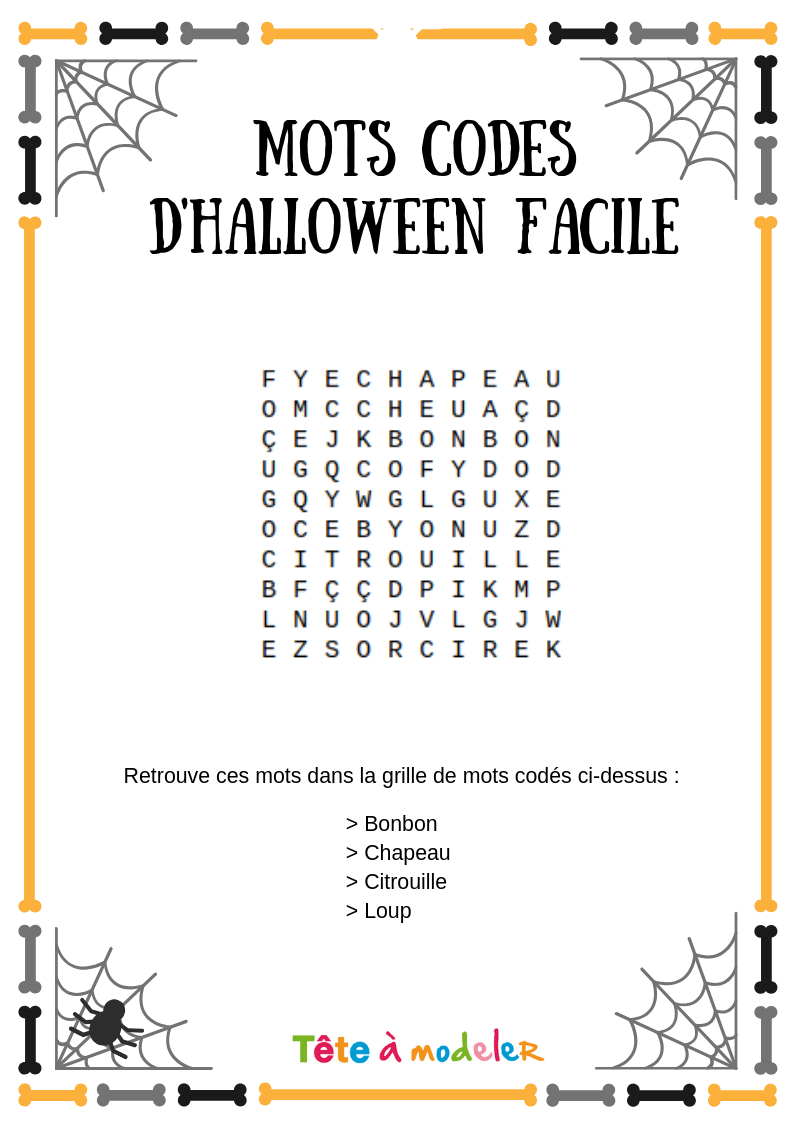 Mots Codés Halloween #2 - Un Jeu À Imprimer De Tête À Modeler à Mots Croisés Faciles À Imprimer