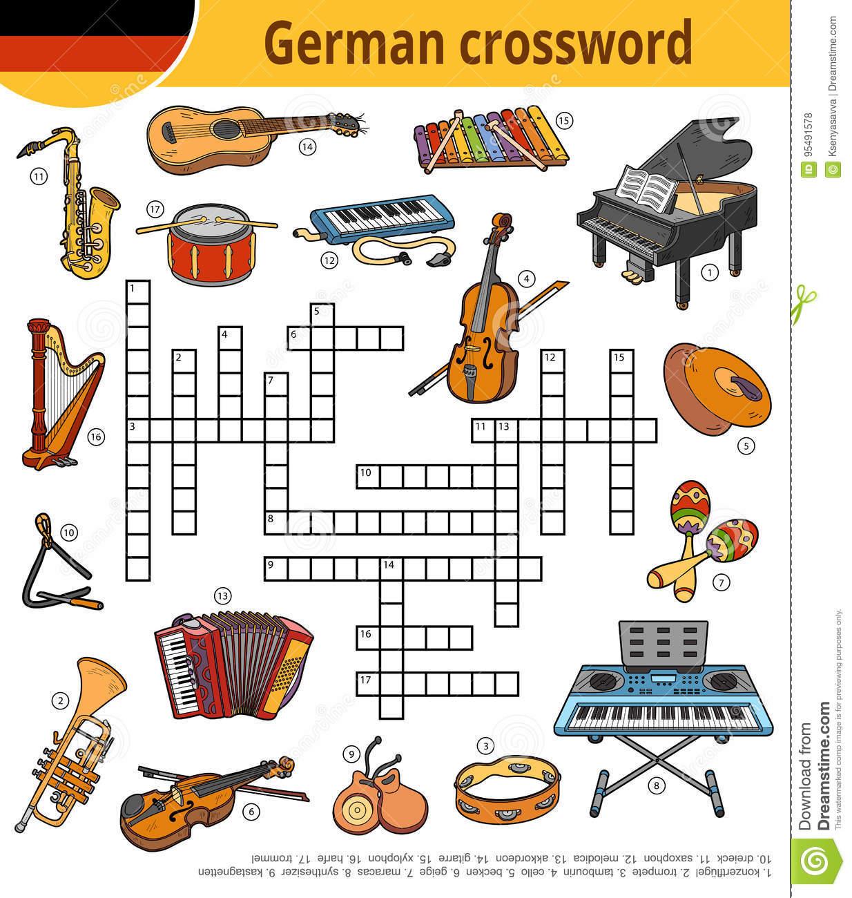 Mots Croisé Allemands, Jeu D'éducation Pour Des Enfants concernant Jeu Des Instruments De Musique