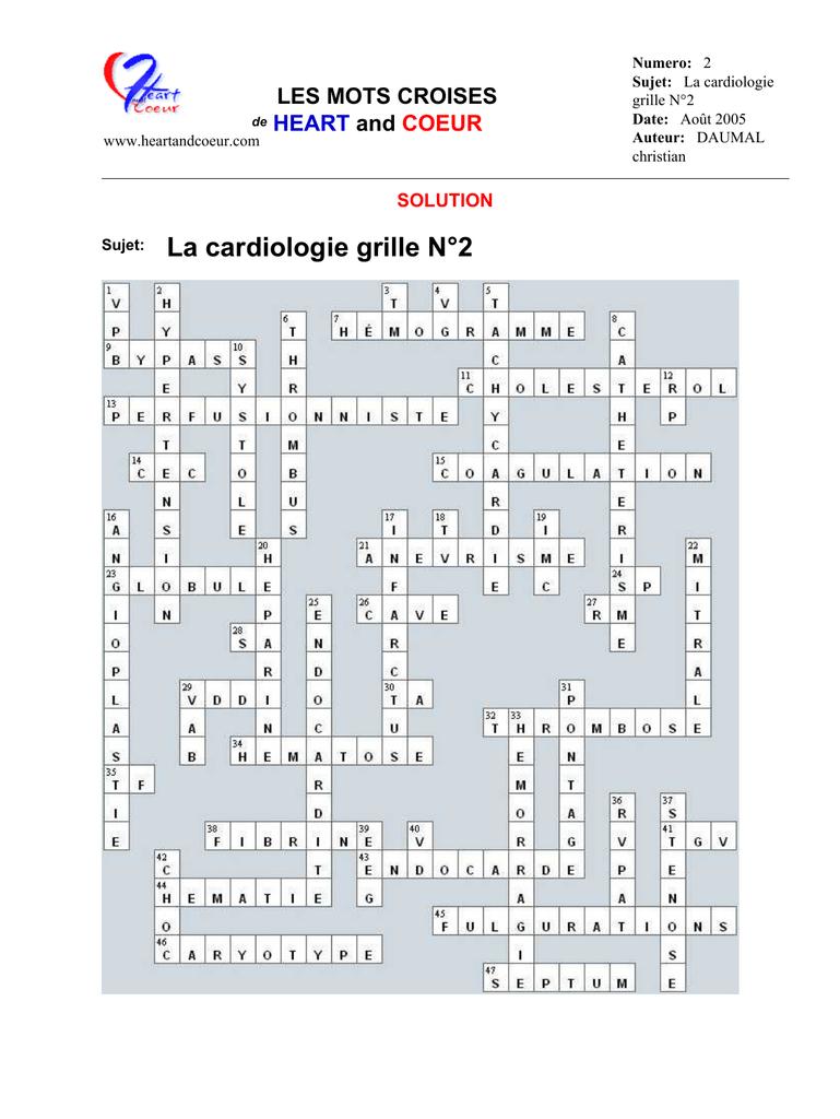 Mots Croisés - Cardiologie serapportantà Mots Croises Et Mots Fleches