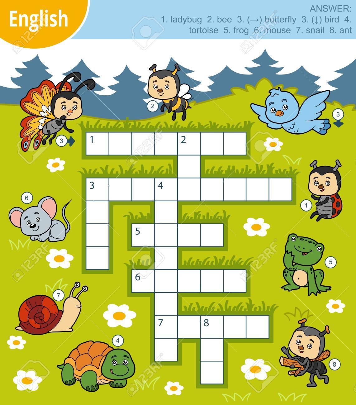 Mots Croisés Colorés En Anglais, Jeu Éducatif Pour Enfants Sur Les Animaux pour Jeux Enfant Educatif