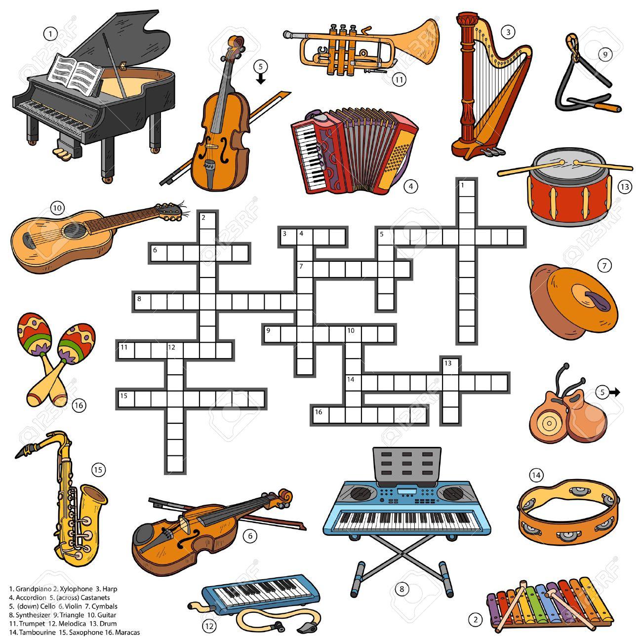 Mots Croisés Couleur, Jeu Éducatif Pour Les Enfants Sur Les Instruments De  Musique pour Jeu Des Instruments De Musique