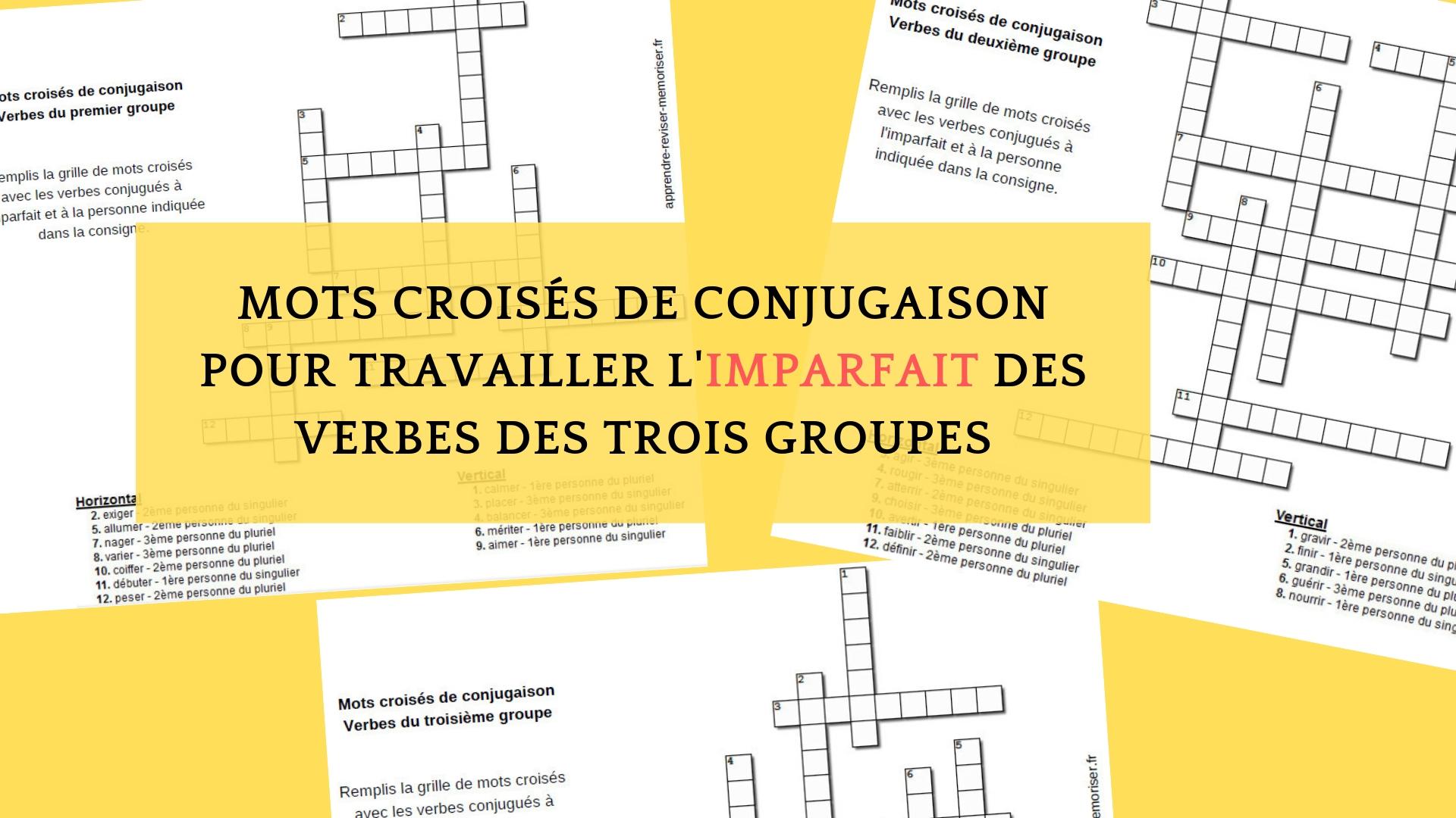 Mots Croisés De Conjugaison Pour Travailler L'imparfait Des pour Mots Croisés Avec Image