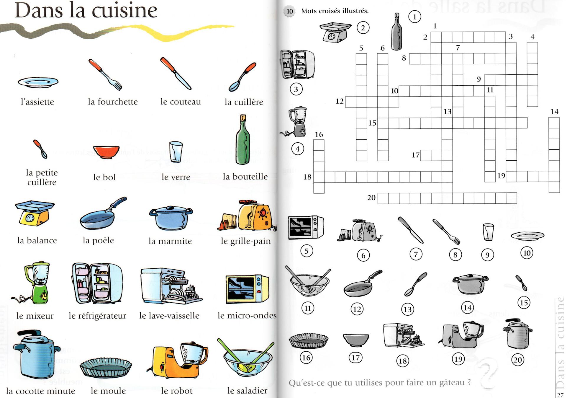 Mots Croisés De La Cuisine - A1 (Le Français De Jeu - S avec Aide Pour Mots Fléchés Gratuit