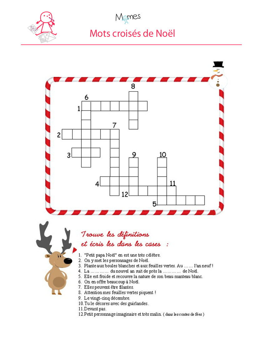 Mots Croisés De Noël - Momes destiné Jeux Ce2 À Imprimer