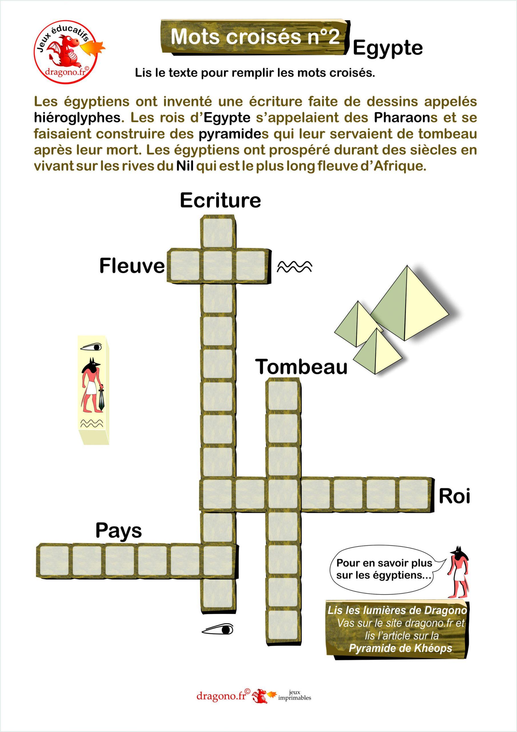 Mots Croisés Egypte - Dragono.fr avec Mots Croisés Enfants À Imprimer